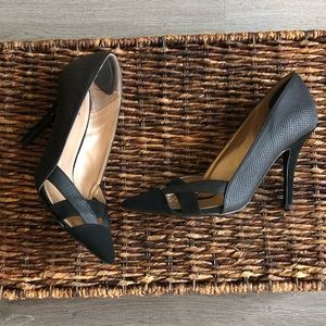 Quipid Mixed Faux leather & Suede Look Black Pump